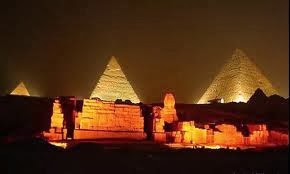 The sound and light show, ancient Egypt, pyramids in Egyptthe,  pyramids and the Sphinx, Egypt