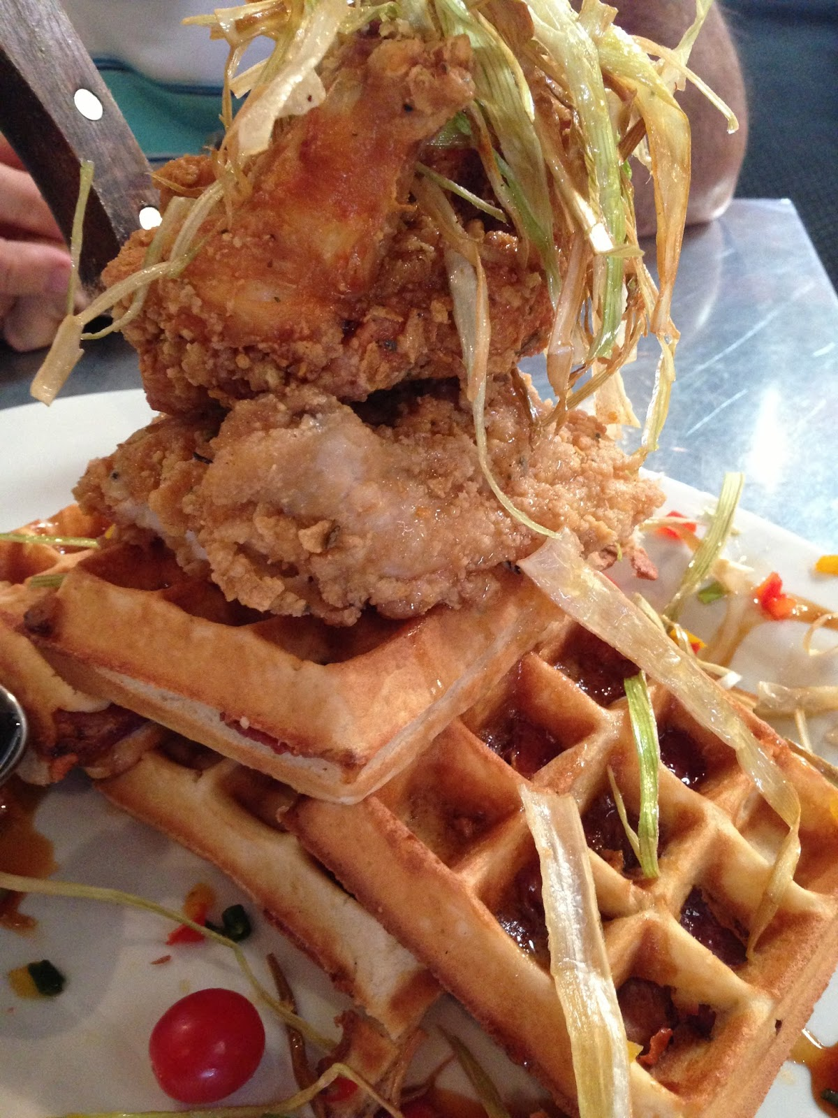 hash house a go go's sage fried chicken and bacon waffles - purple