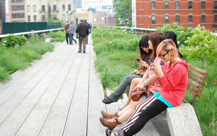 Colorful Hipster Girls handing out High Line Park