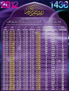 Ramadan Calender  2012