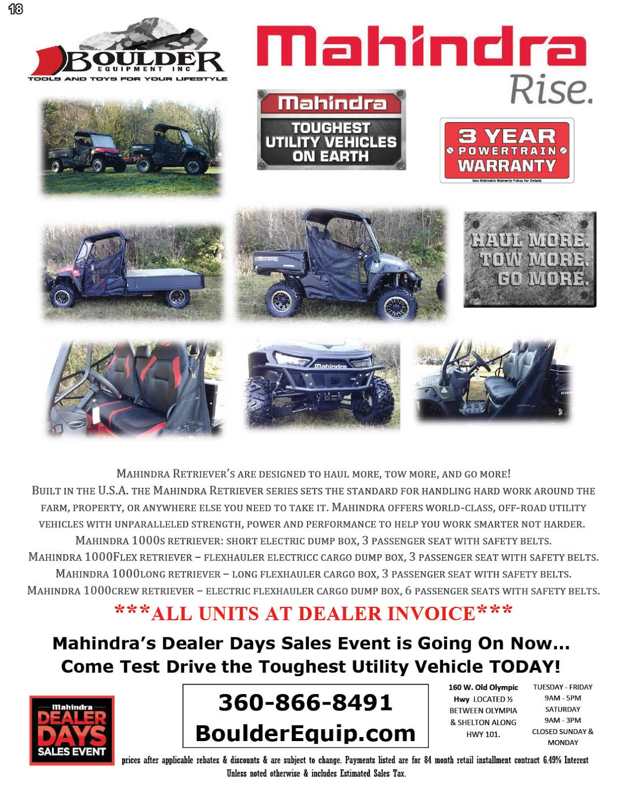 Boulder Equipment Mahindra Tractor Sale!!