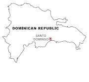 Mapa y Bandera y Escudo de Republica Dominicana para dibujar pintar colorear . (republica dominicana )