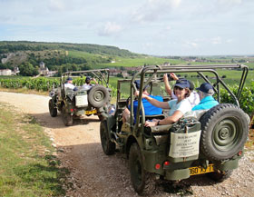 Jeep ride in vineyards on Burgundy hotel barge Apres Tout