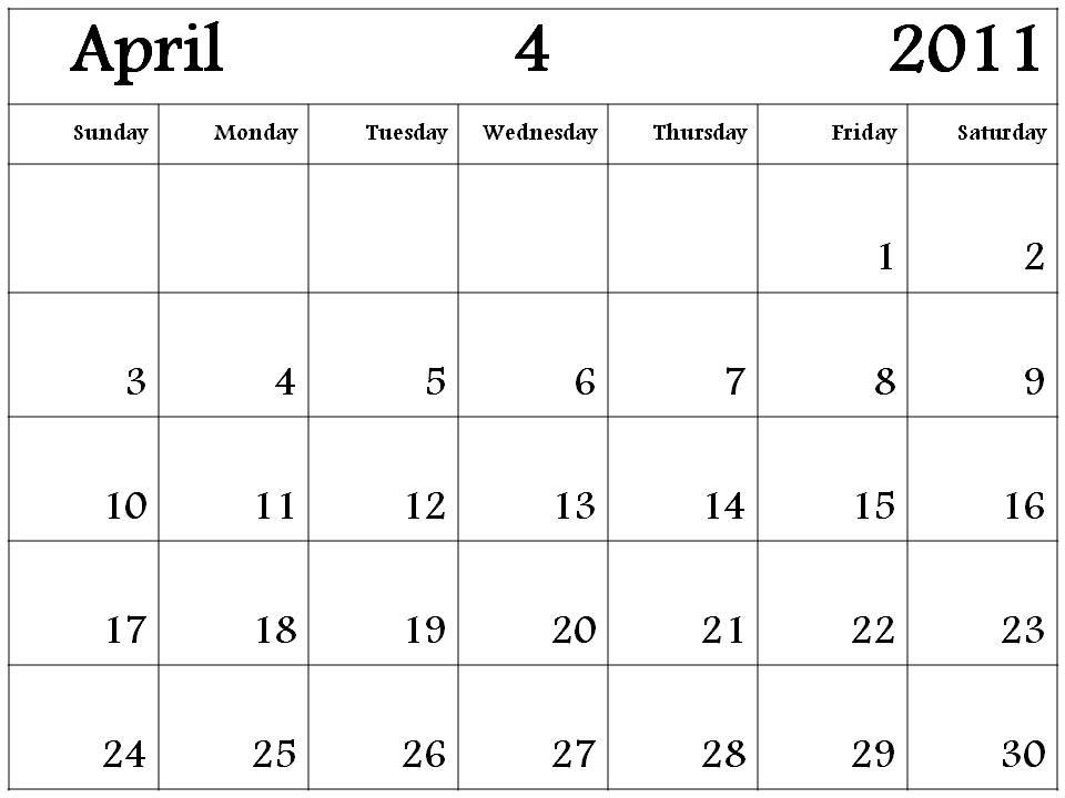 Calendar April 2011 : Njyloolus april calendar template