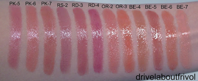 Lavshuca Moist Melting Rouge Swatches PK-5, PK-6, PK-7, RS-2,  RD-3. RD-4, OR-2, OR-3, BE-4, BE-5, BE-6, BE-7