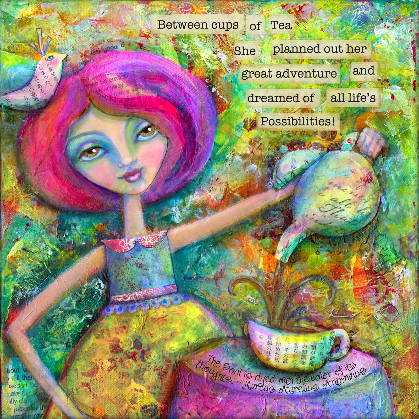 Teatime Dreams: Print of an Exuberant Multicolored Mixed Media Painting celebrating the Joy of Simple Pleasures and New Beginnings by Laurie Sikorowski
