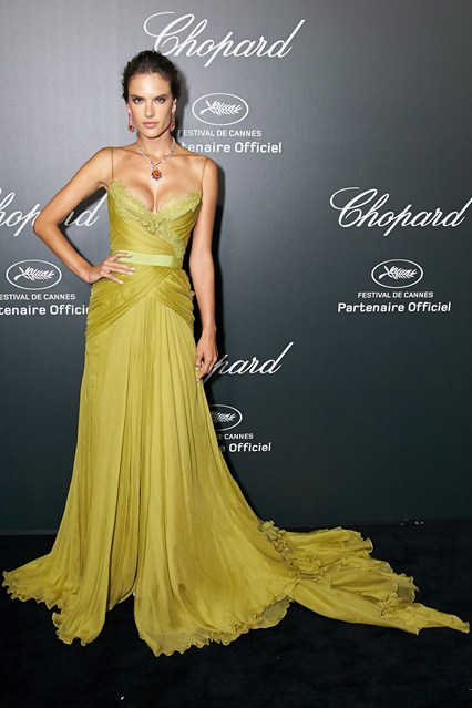 Alessandra Ambrosio in an olive green Elie Saab Couture gown at Cannes 2014