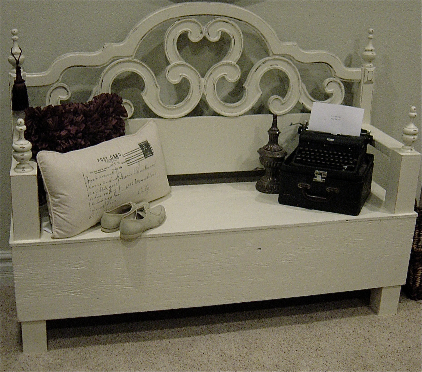 The Backyard Boutique By Five To Nine Furnishings Shabby Chic Creamy White Bench