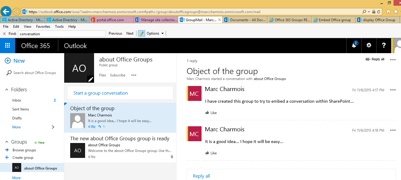 publish a post where i can use the brand new office 365 unified api to embed a conversation of the brand new office group into a sharepoint online page