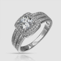 Bling Jewelry Micropave Triple Shank Cushion CZ