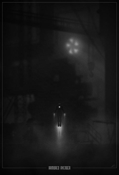 marko manev ilustração poster super heróis noir minimalista preto e branco homem de ferro vingador blindado