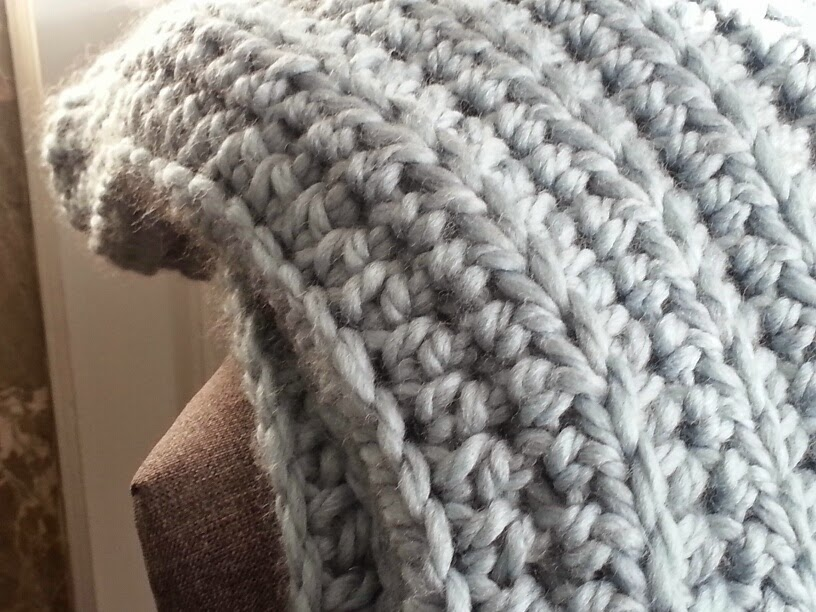Modern Grace Design Chunky Ribbed Crochet Blanket Free Pattern