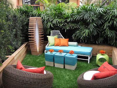 jardim com zona de estar