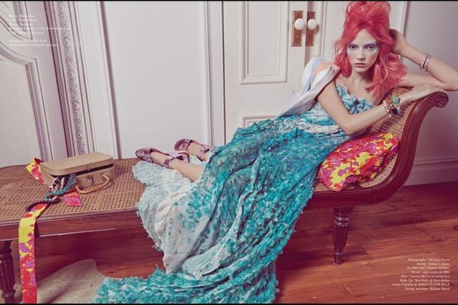 Blumarine 2015 SS Green Petal Print Embroidered Gown Editorials