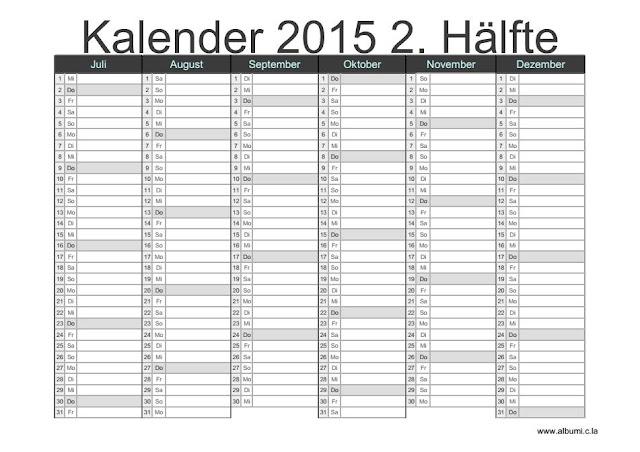 Kalender 2015 2. Hälfte | 2016 Blank Calendar - calendar en - WWW ...