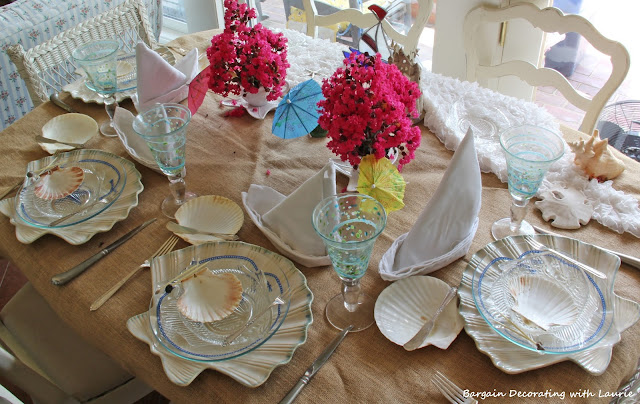 Beachy Tablescape-Bargain Decorating with Laurie