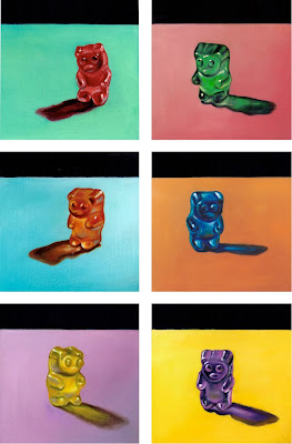 rainbow gummy bears original realistic oil painting by Jeanne Vadeboncoeur