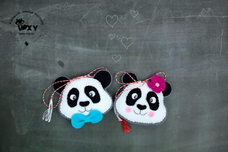 brosa panda, panda fetru, panda cu papion, pereche panda, panda handmade, panda martisor