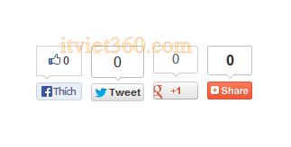 Like Facebook, G+, Twitter theo URL trang cho blogspot, Website