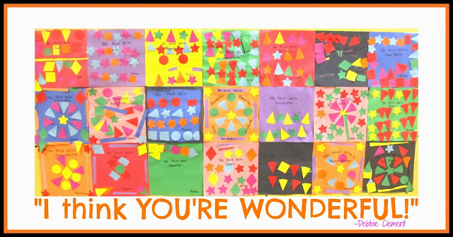 """You're Wonderful"" Kindergarten Art Response of Affirmation for Author School visit with Debbie Clement"