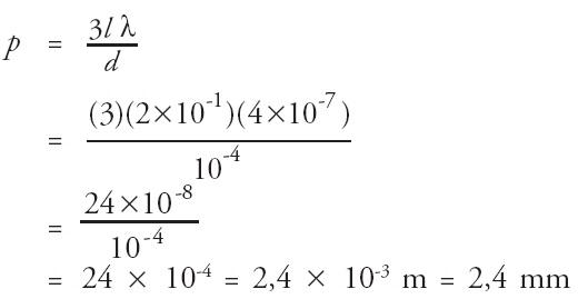 Jarak garis gelap ketiga dari pusat terang p dapat dihitung dari rumus