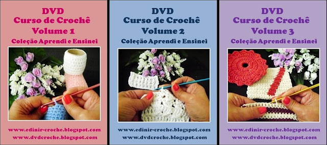 curso em croche com edinir-croche 3 volumes dvd video-aulas blog loja frete gratis