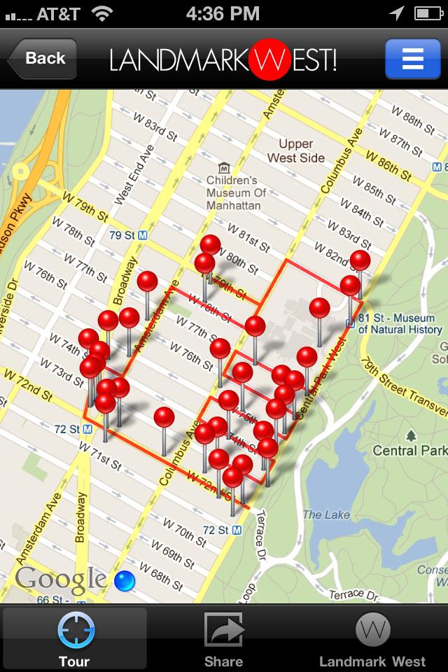 Landmark west walking tour app for T mobile upper west side