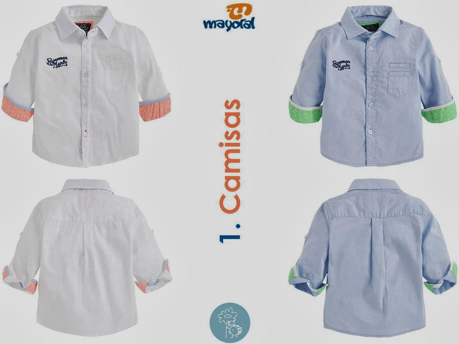 Camisas Blanco-coral y Azul-verde Mayoral colección baby en Blog Retamal moda infantil y bebe