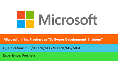 "Microsoft hiring Freshers as ""Software Development Engineer"""