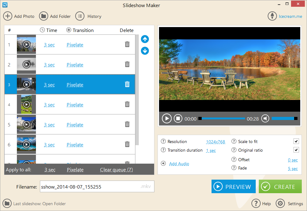 برنامج مجاني لإنشاء الفيديوهات والعروض التقديمية بسهولة IceCream Slideshow Maker