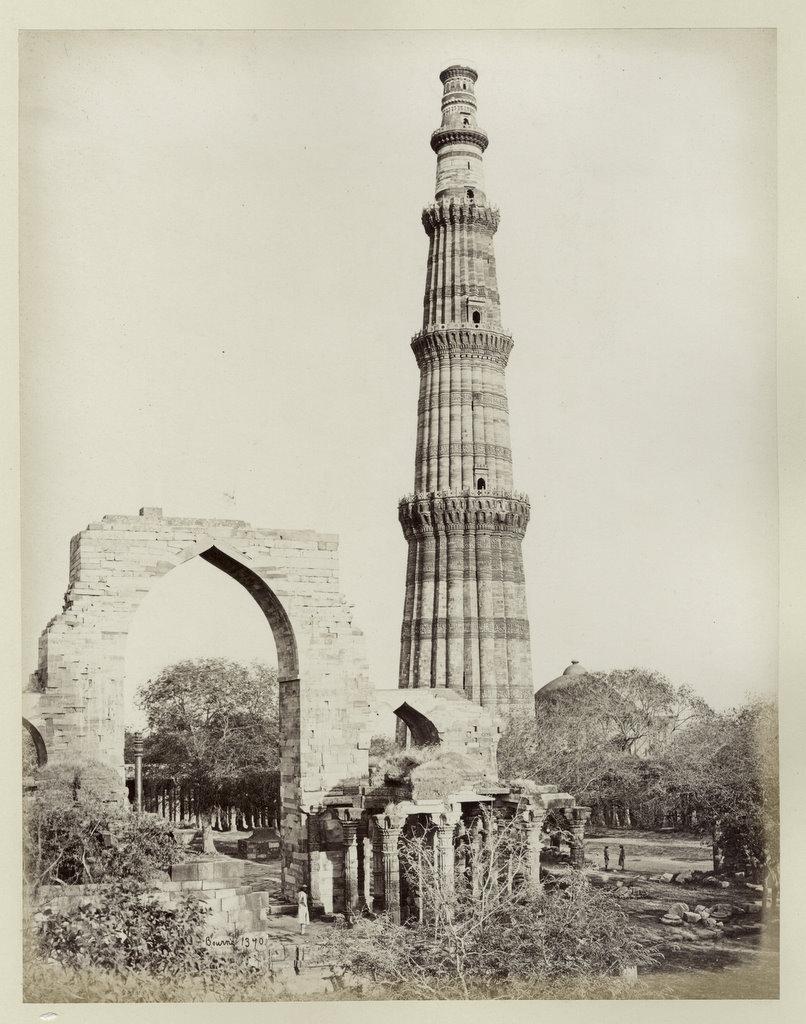 Qutub Minar in Delhi - 1860's - Old Indian Photos