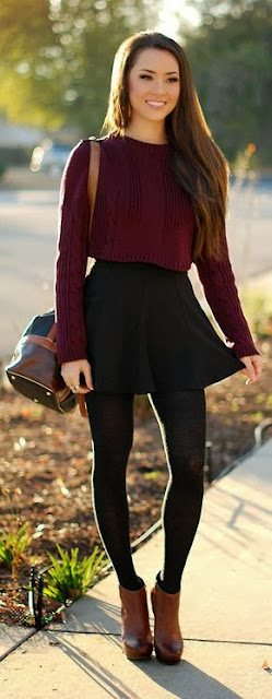 Burgundy crop top with fluid black skirt