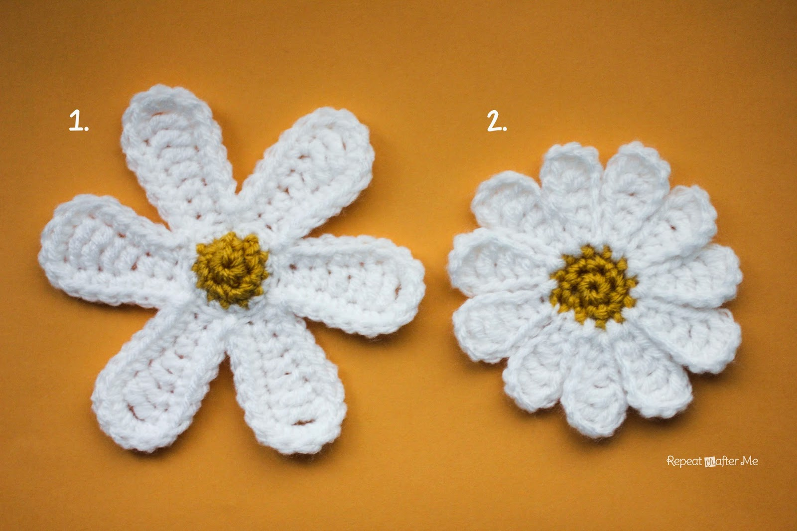 Flower Pattern In Crochet : Daisy Flower Crochet Pattern - Repeat Crafter Me