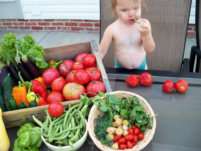One year olds love their vegetables!