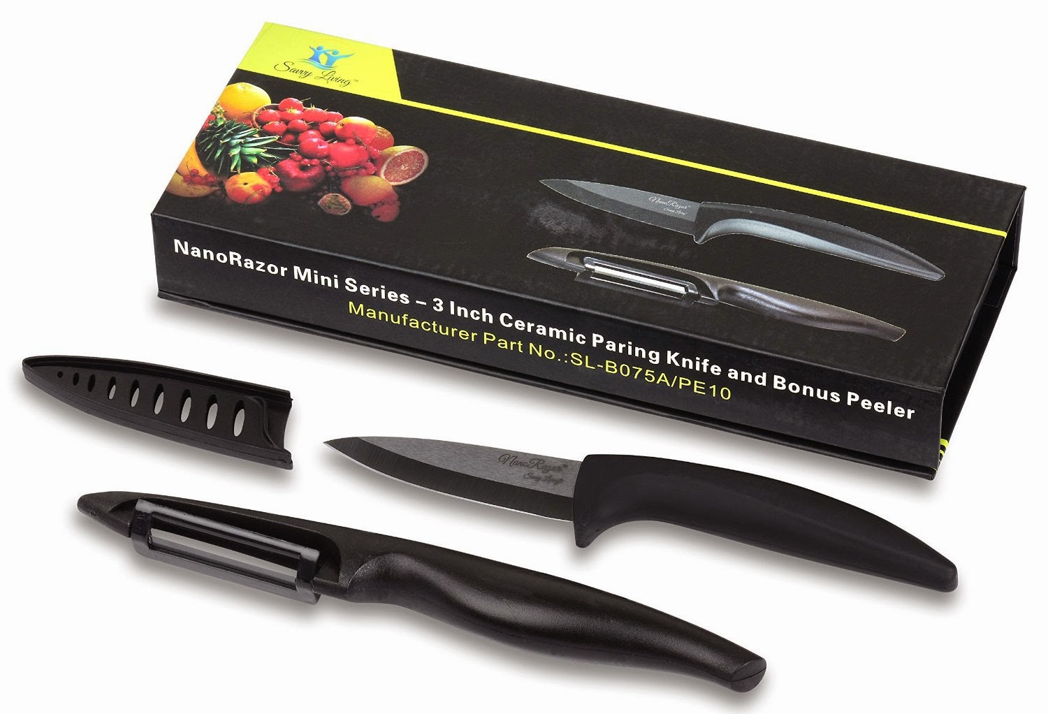 "Nanorazor 3"" Ceramic Paring Knife With Free Peeler"