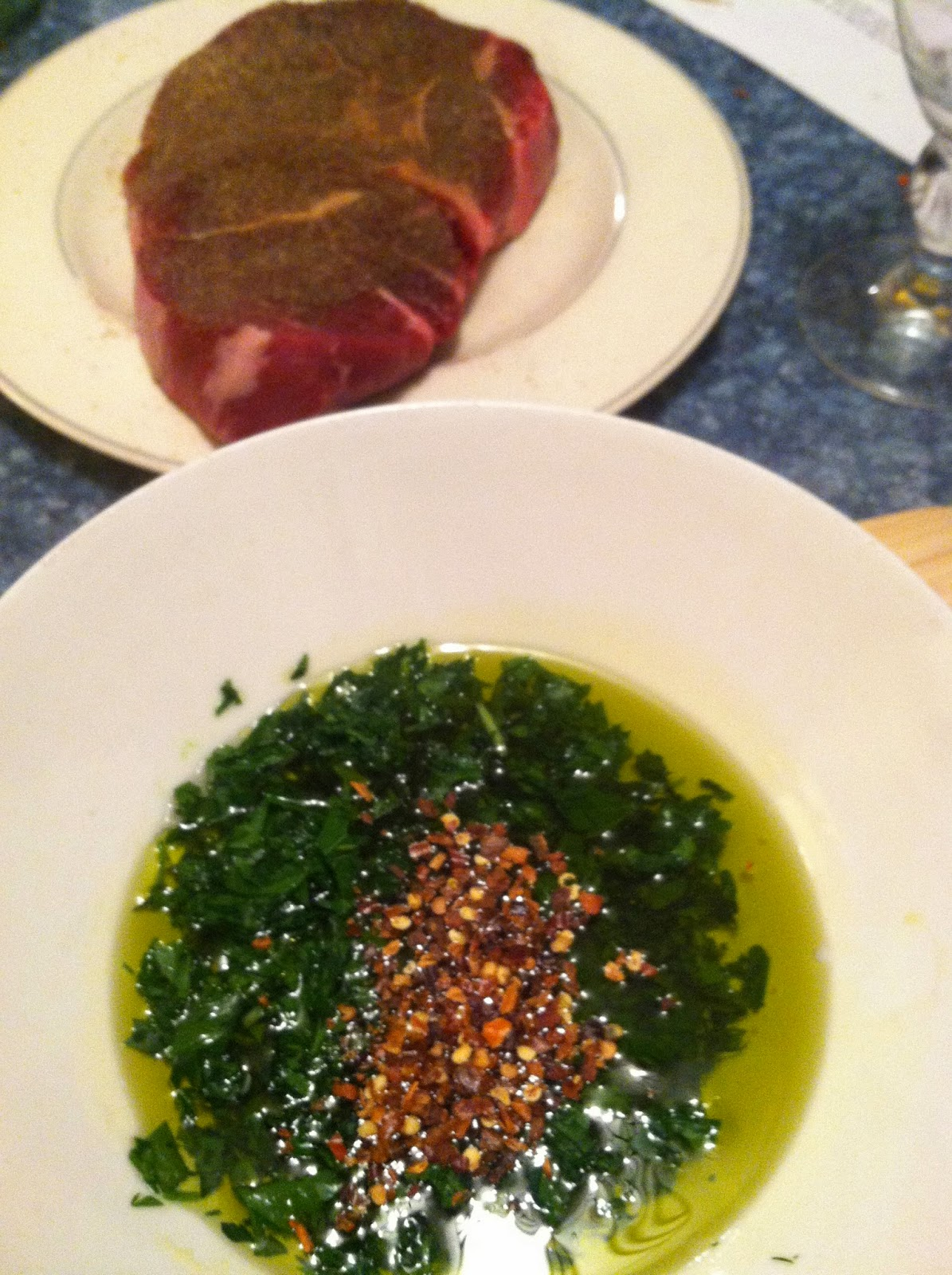 Sirloin steak with spice rub along with chimichurri sauce. Cooking Chat recipe.