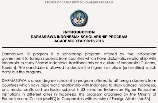 Darmasiswa Indonesian Scholarship Program Academik Year 205/2016