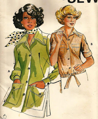 Vintage 1970s Ladies Safari Shirt Jacket Blouse Pattern