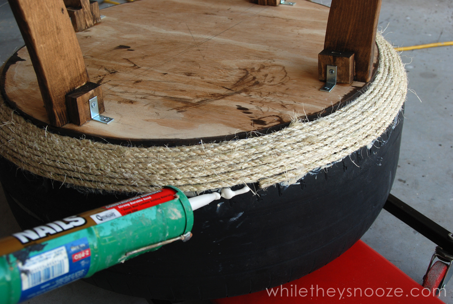 While they snooze trash pile tire made trendy table tutorial for Tire table diy