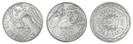 pièces de 10 euros en argent série Euros des Régions 2012