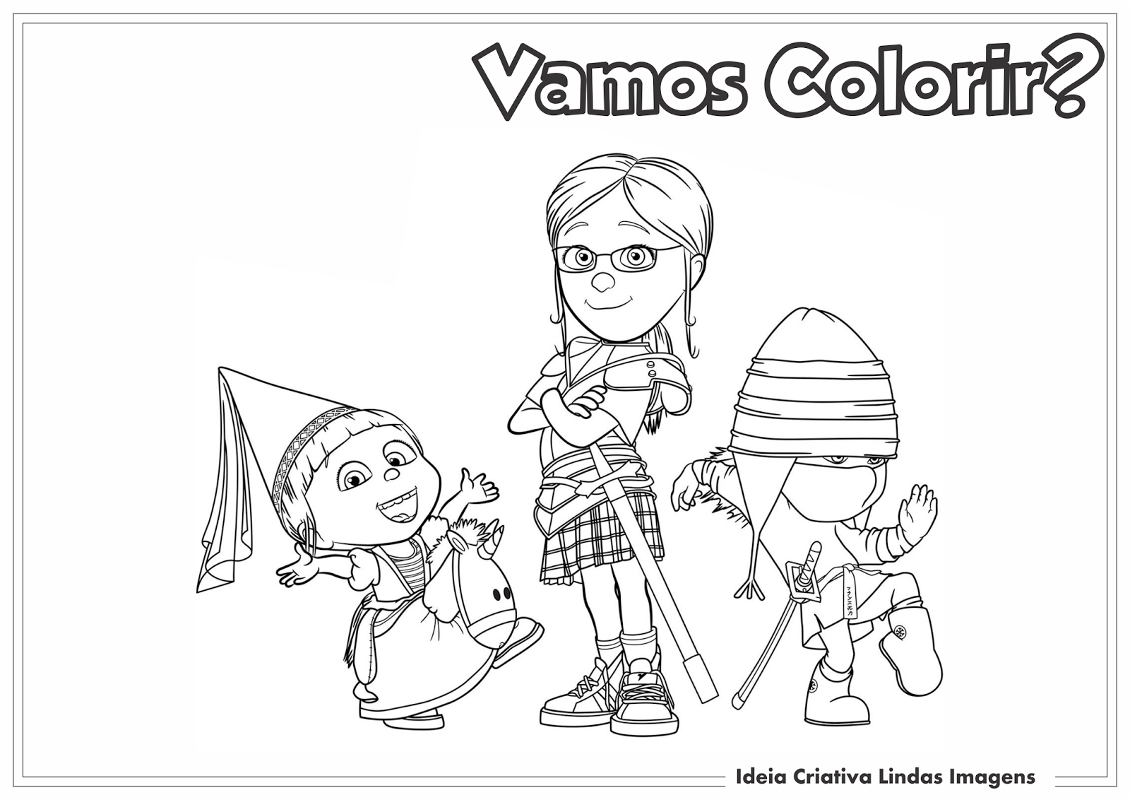 Meu Malvado Favorito 2 - Margo, Edith e Agnes desenho para colorir