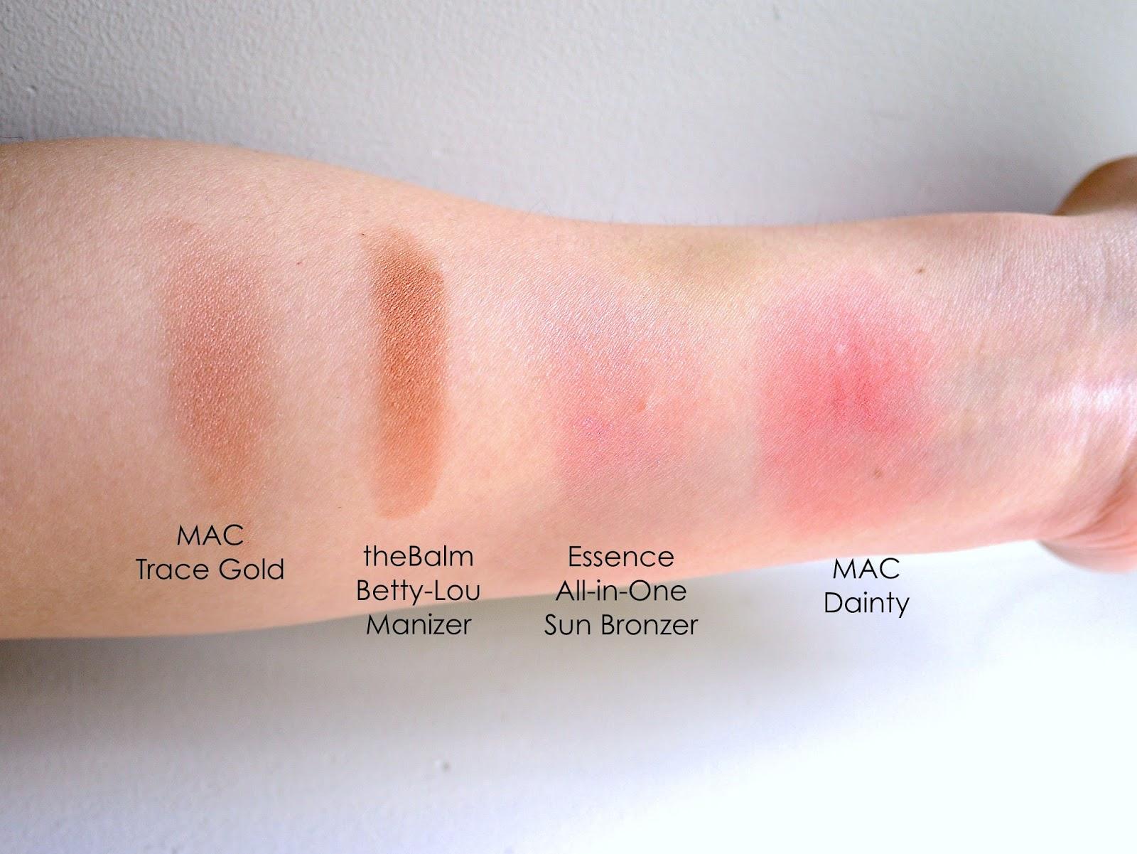 MAC trace gold theBalm Betty-Lou Manizer Essence All-in-One Sun Bronzer Mac Dainty blush swatch