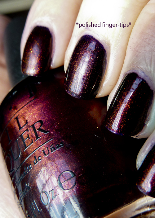 OPI Every Month Is Oktoberfest - layered with Fantasy Fire - sunlight