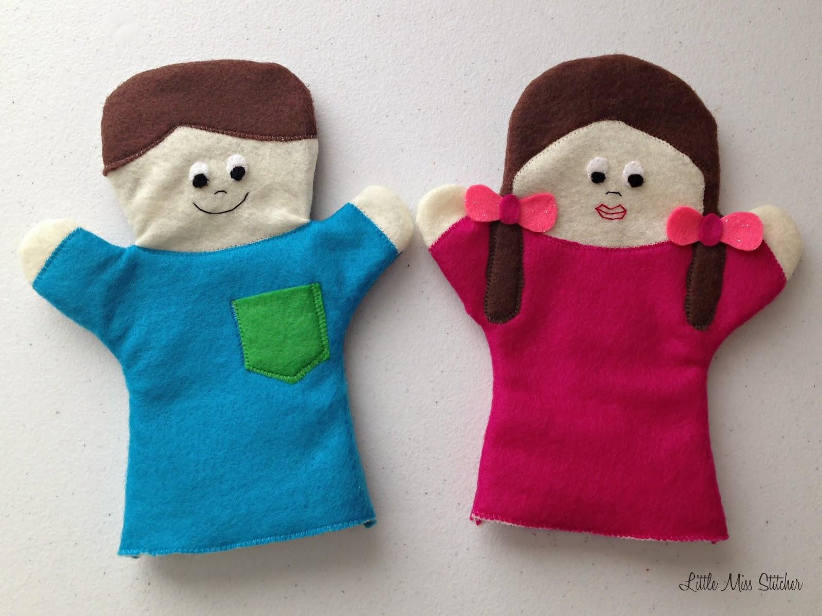 Little Miss Stitcher: DIY Boy and Girl Felt Hand Puppets