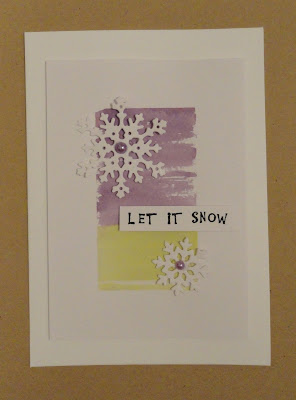 Green and purple Christmas card with snowflakes