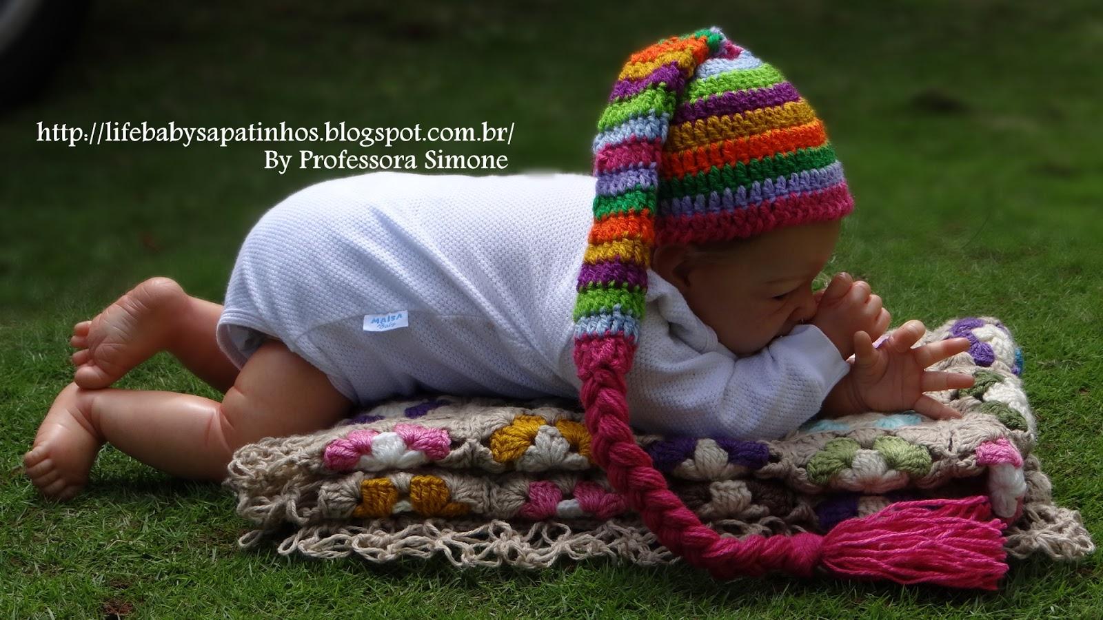 Receita da Touca Colorida em Crochê  Tamanho RN. Lista de materiais  Lãs  especial para bebê na masca de sua preferencia trabalhada dupla ou d872d1af1b3