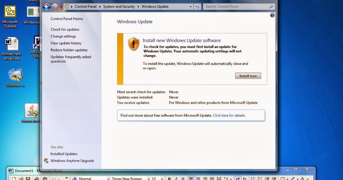 problems updating windows vista home premium
