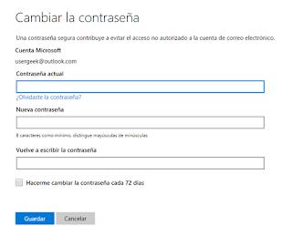 Iniciar sesion y cambiar contraseña desde Microsoft Account