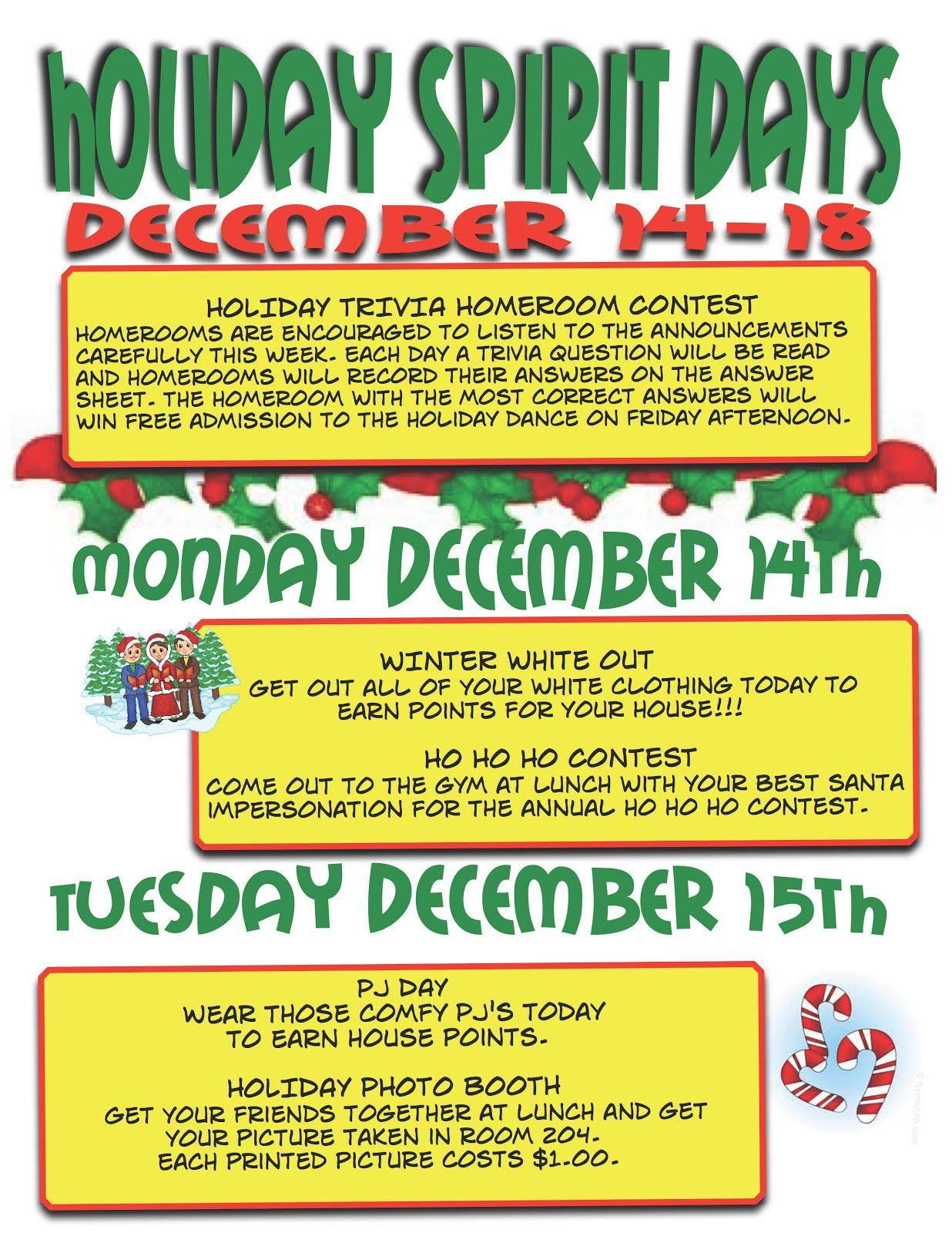 Ness middle school december 2015 for Christmas spirit ideas