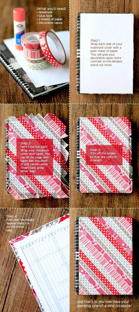decorar agenda washi tape